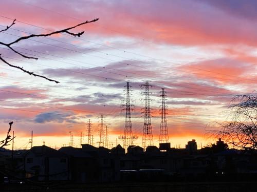 鉄塔のある夕焼け